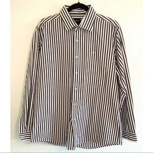 Cacharel brown/white striped collared shirt large